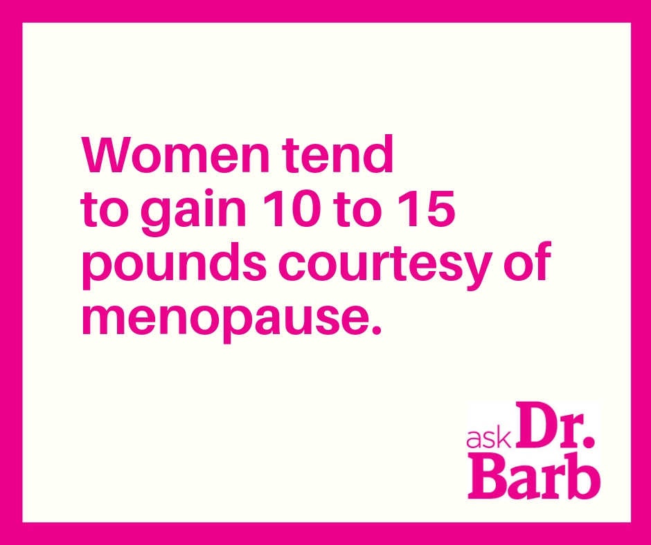 Women tend to gain 10 to 15 pounds courtesy of menopause