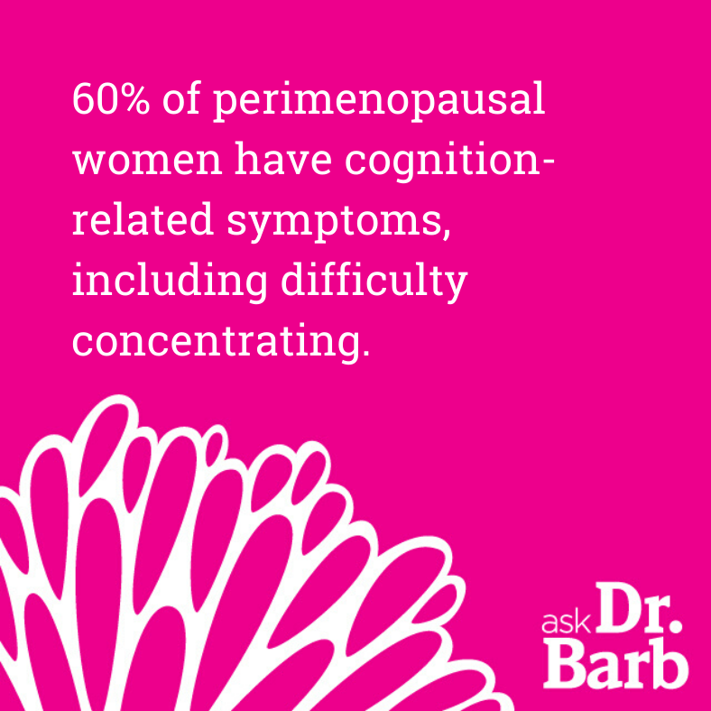 60% of perimenopausal women have cognition-related symptoms, including difficulty concentrating.